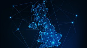 Blue digital image of the United Kingdom with blue connectivity lines