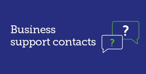Business support contacts with icon of 2 speech bubbles each with a question mark in them