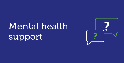 Mental health support with icon of 2 speech bubbles each with a question mark in them