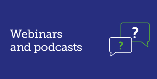 Webinars and podcasts with icon of 2 speech bubbles each with a question mark in them