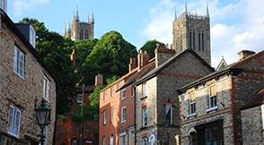View of Steep Hill with Lincoln Cathedral in the background